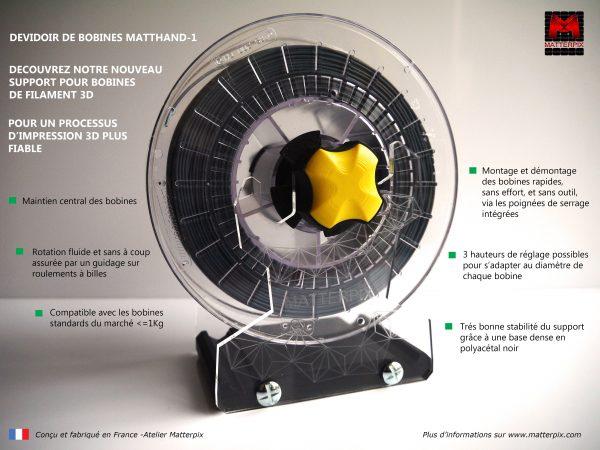 Support pour les bobines de filament des imprimantes 3D