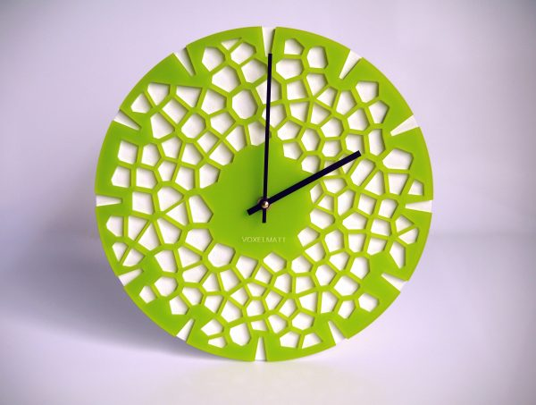 horloge murale design vert citron