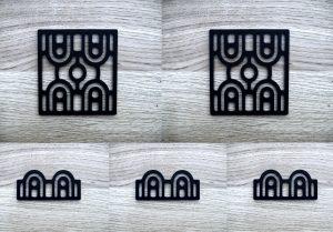 Kit plaques décoratives ART-DECO modèle GATE (Kit complet x5 pièces)